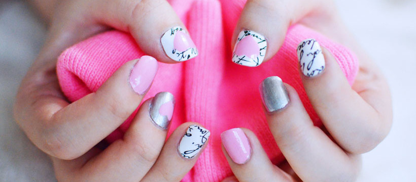 pink heart nails manicure
