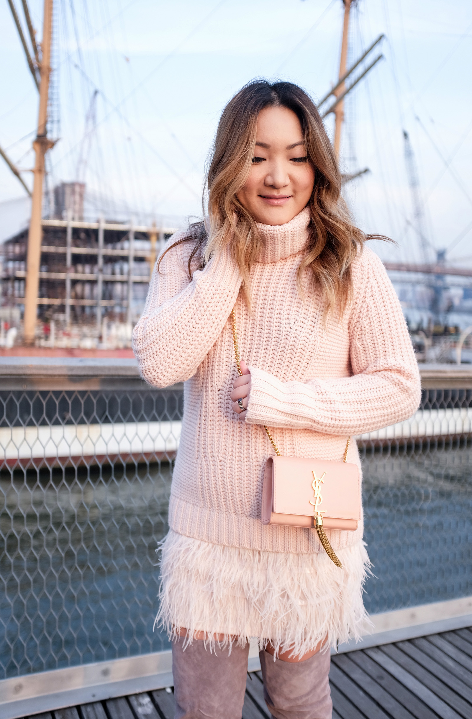feather skirt, soft pink sweater