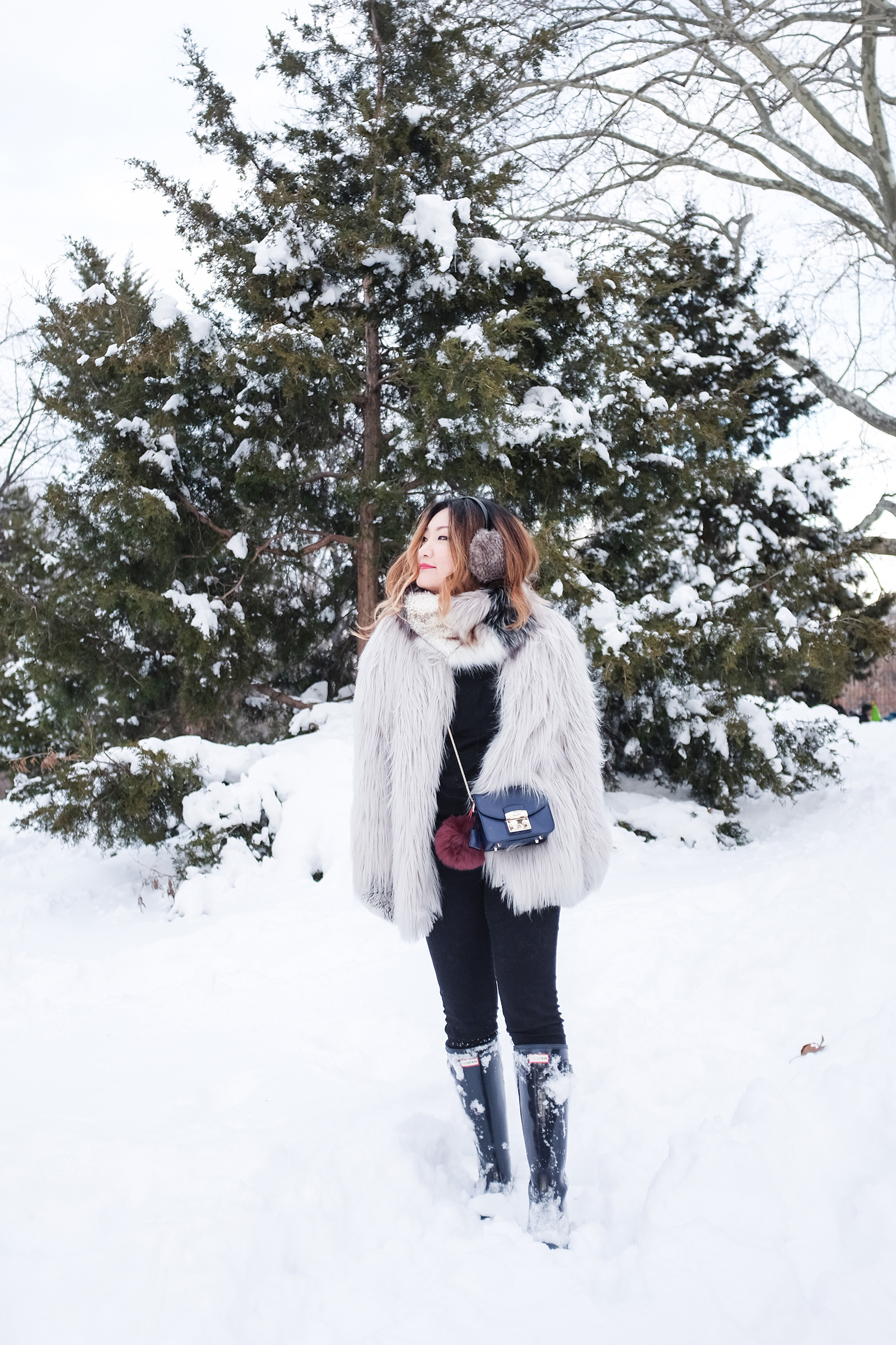 faux fur winter outfit