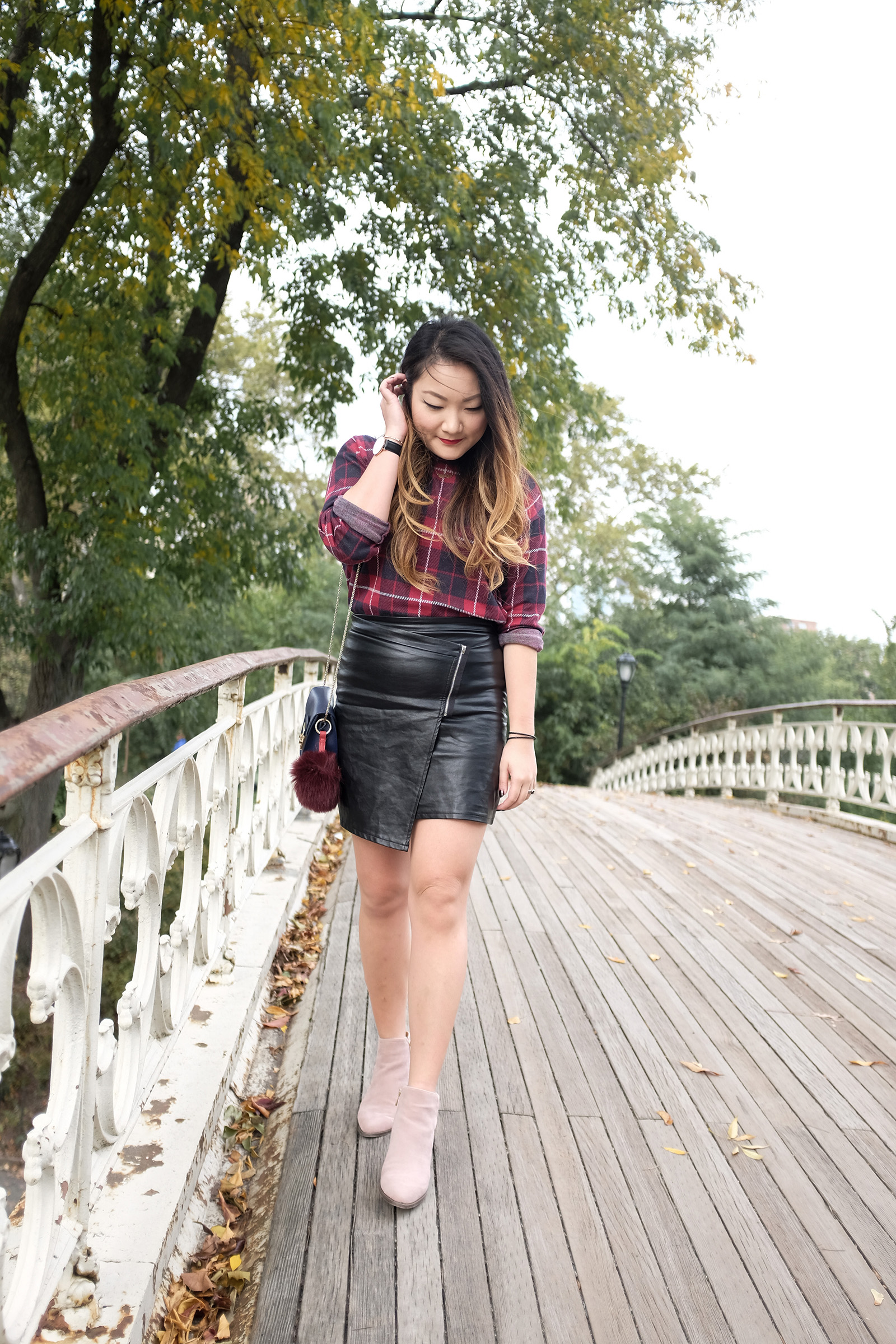 Plaid top, Leather skirt