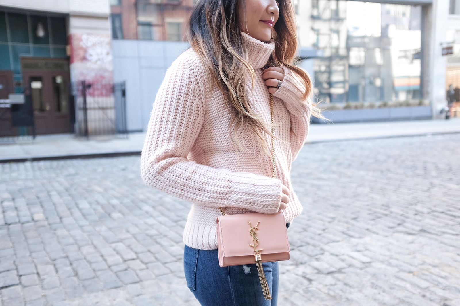 YSL tassel bag blush pink