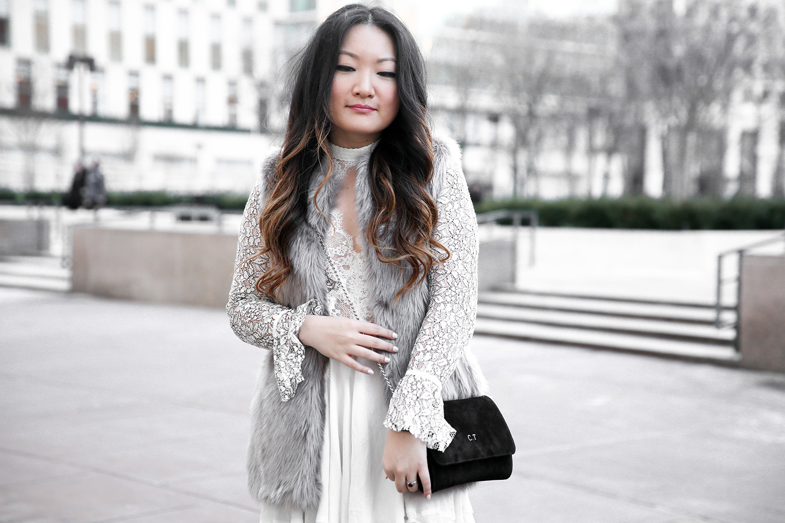 Grey Fur vest, free people lace tell tale