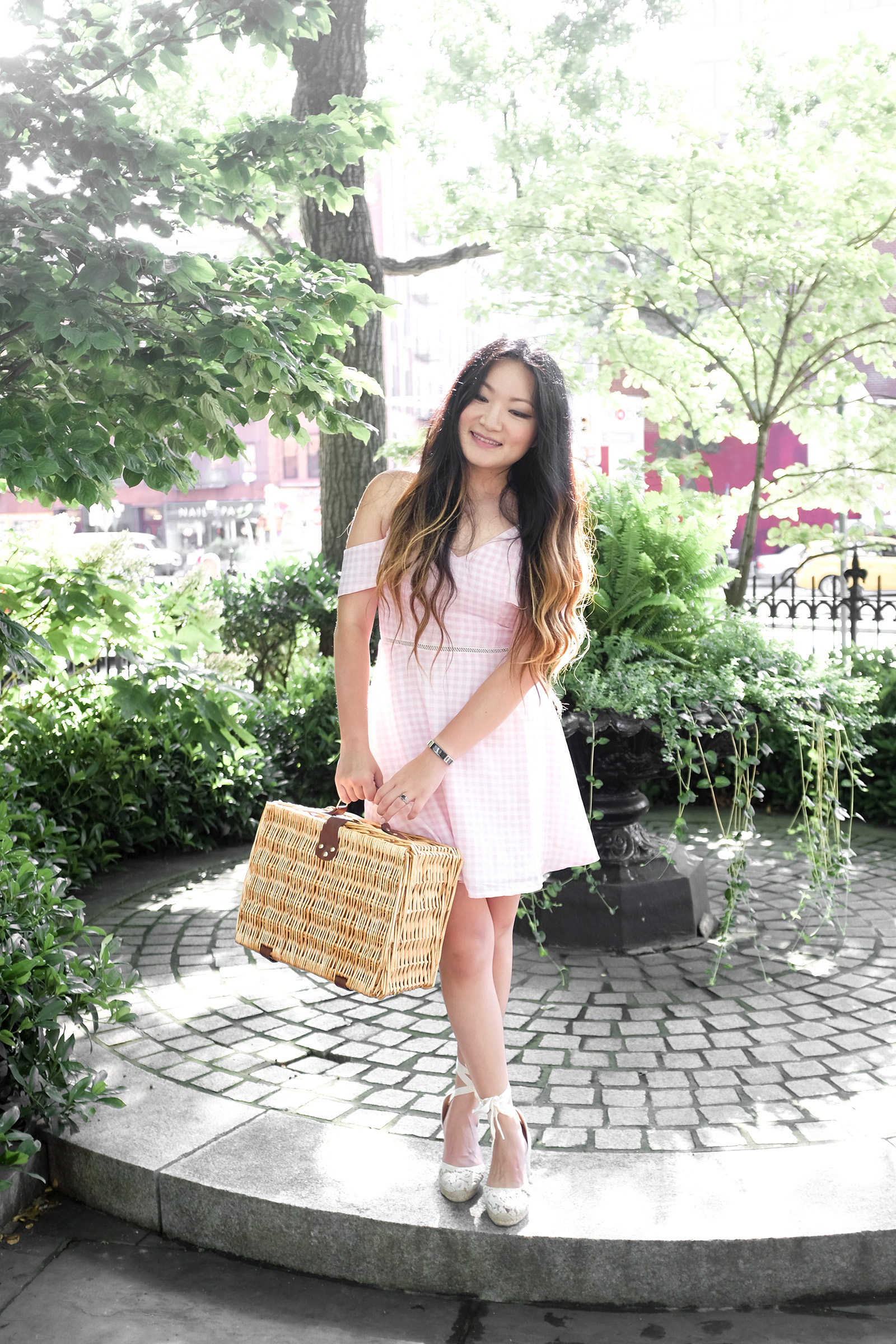 Pink Gingham Dress Picnic Basket