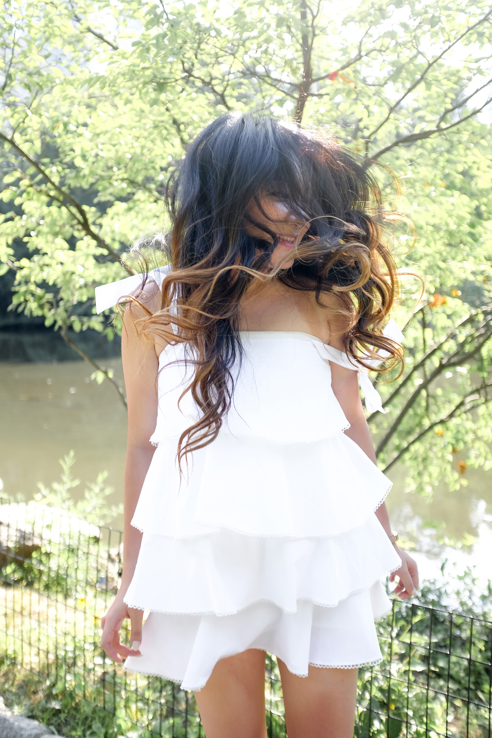 White Ruffle Tier Dress