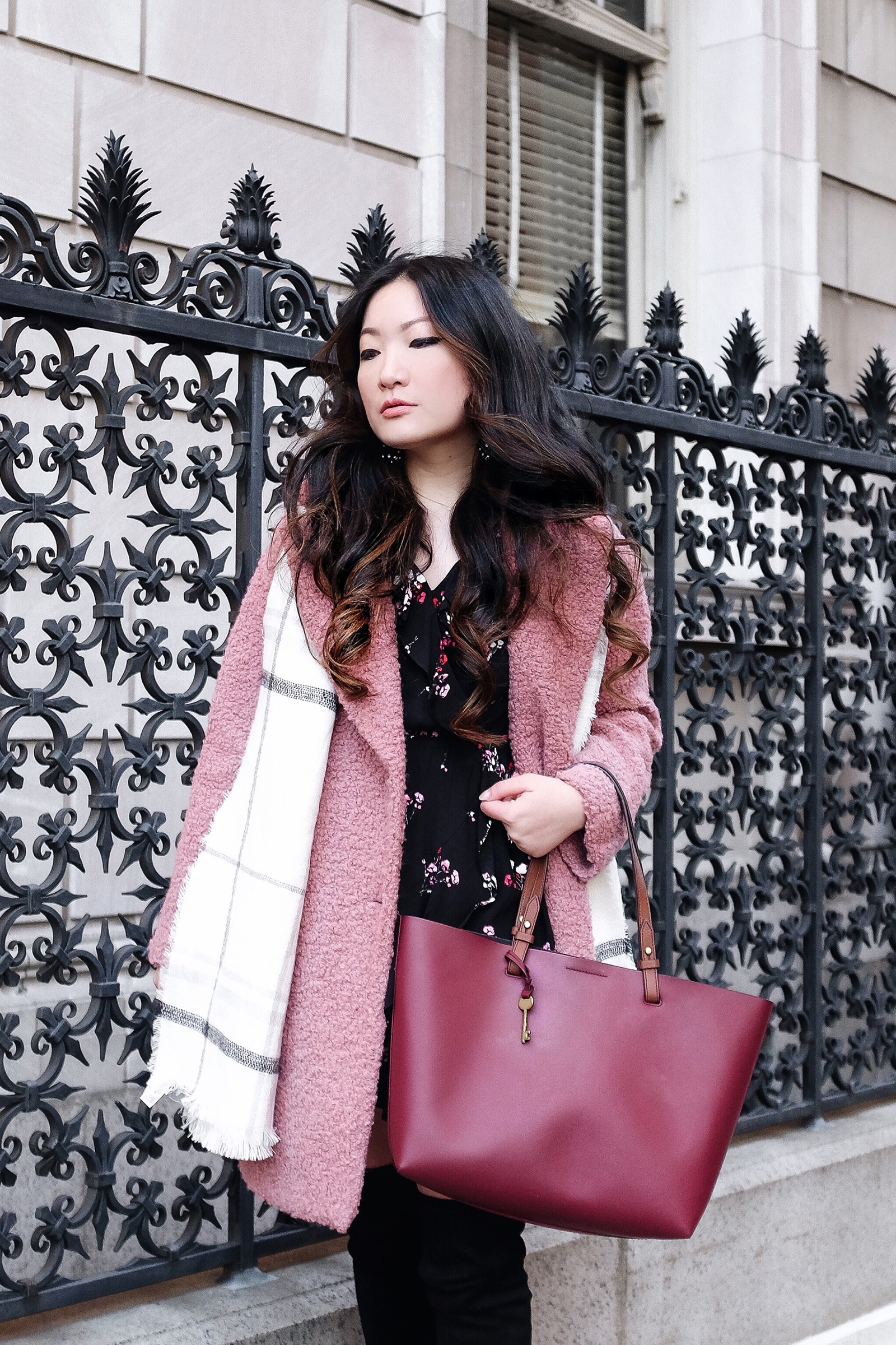 Topshop Pink Alicia Boucle Coat