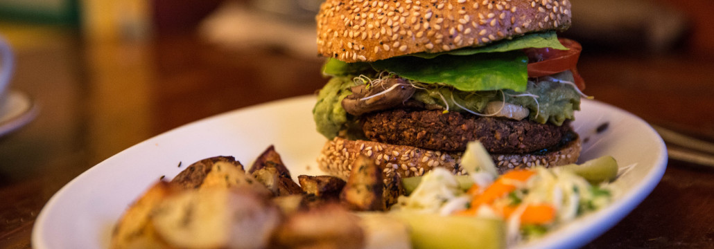 green machine burger at the organic grill