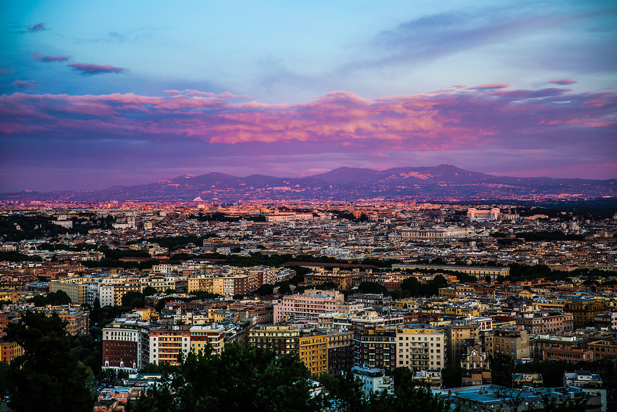 Sunset on top of the hill at the Waldorf Astoria Rome