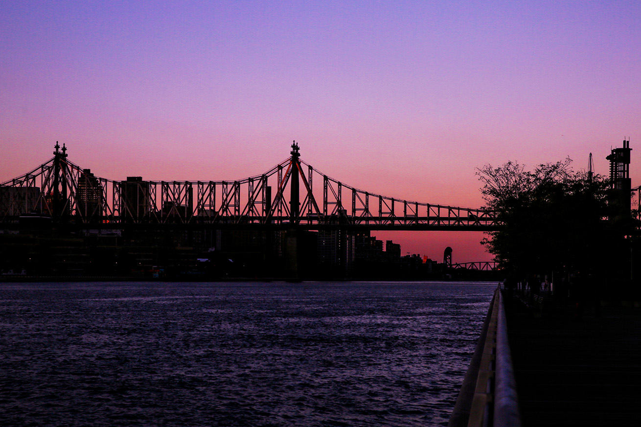Queensboro Bridge entrenched in watercolors
