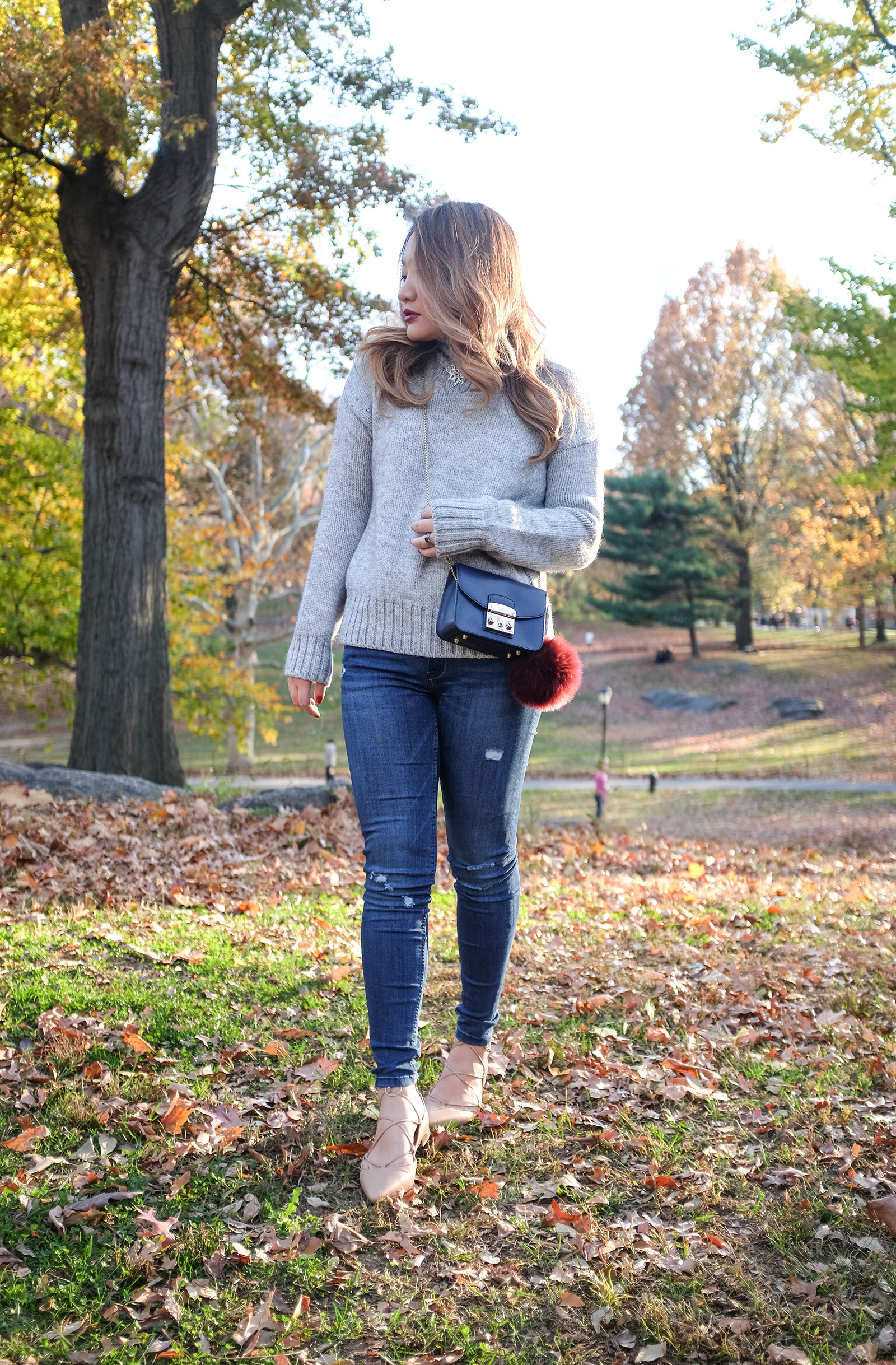 fall outfit sweater skinny jeans