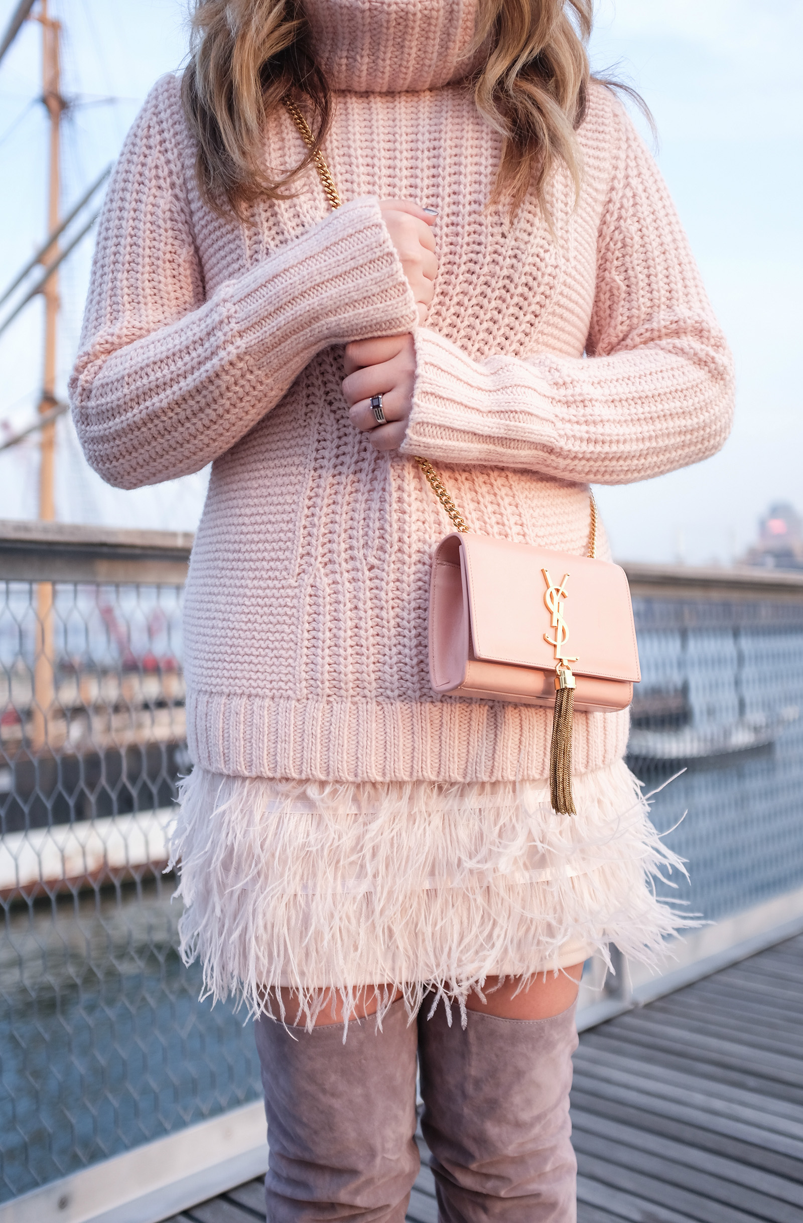 pink feather skirt and sweater