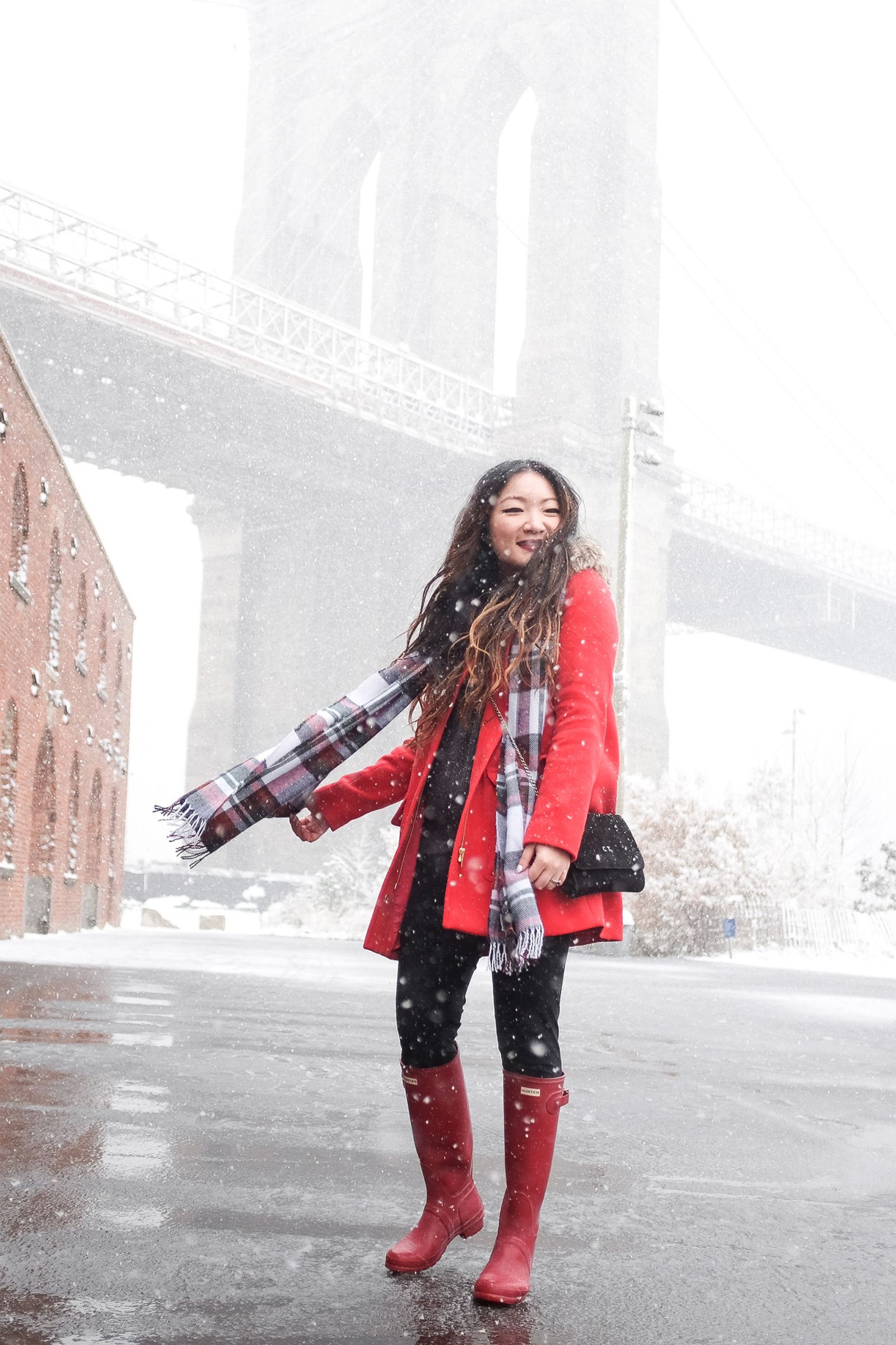 Winter Red Parka + Hunter Boots