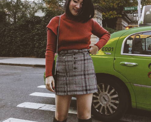 Rust/Pumpkin Orange sweater Plaid skirt